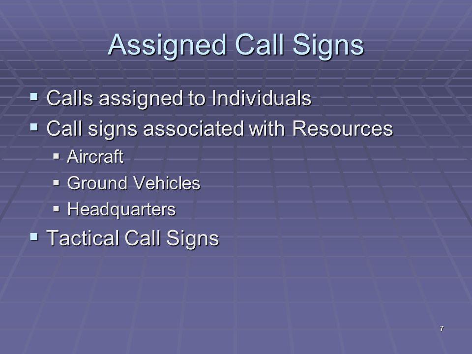 Aircraft Call Signs  CAP corporate aircraft will use CAP xxxx (ex.