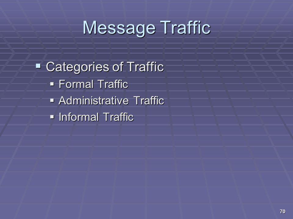 Message Traffic  Categories of Traffic  Formal Traffic  Administrative Traffic  Informal Traffic 70