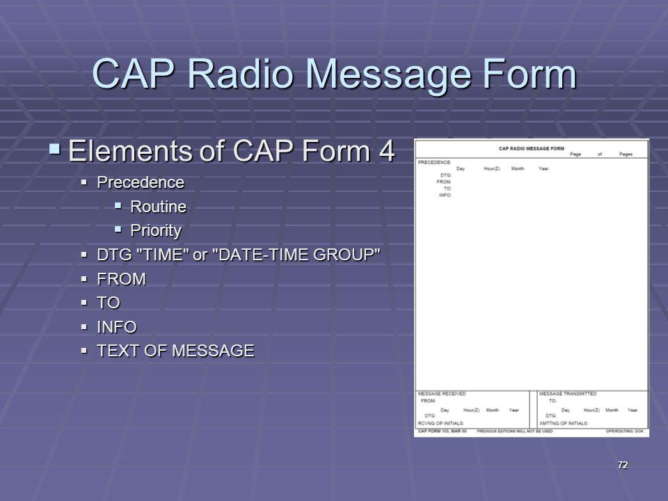 CAP Radio Message Form  Elements of CAP Form 4  Precedence  Routine  Priority  DTG