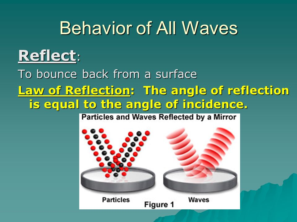 Behavior of All Waves Reflect : To bounce back from a surface Law of Reflection: The angle of reflection is equal to the angle of incidence.