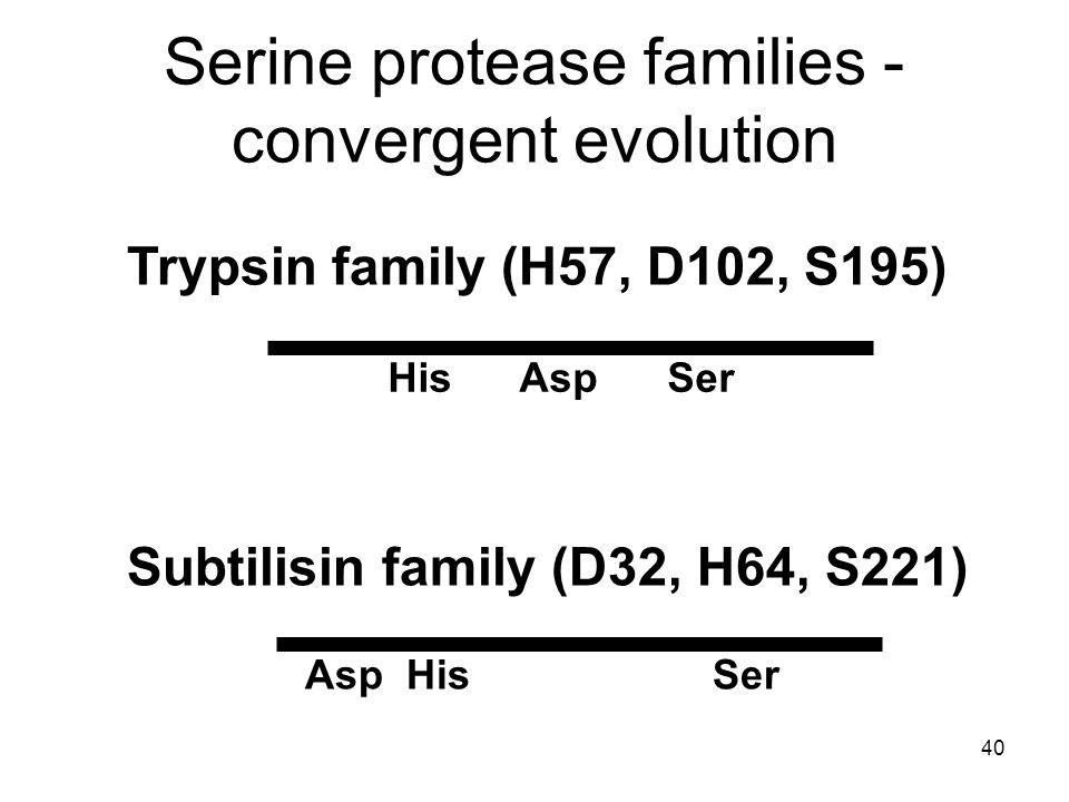 40 Serine protease families - convergent evolution Trypsin family (H57, D102, S195) His Asp Ser Subtilisin family (D32, H64, S221) Asp His Ser