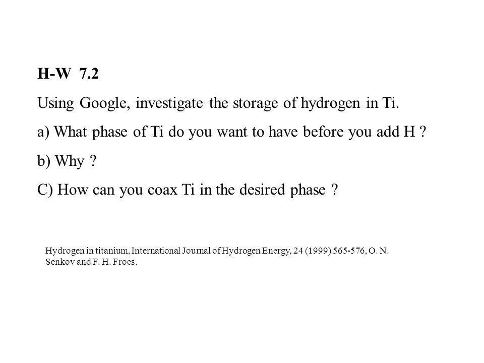 H-W 7.2 Using Google, investigate the storage of hydrogen in Ti.