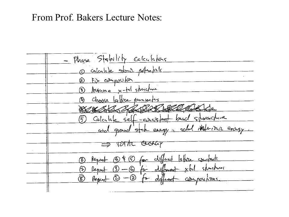 From Prof. Bakers Lecture Notes: