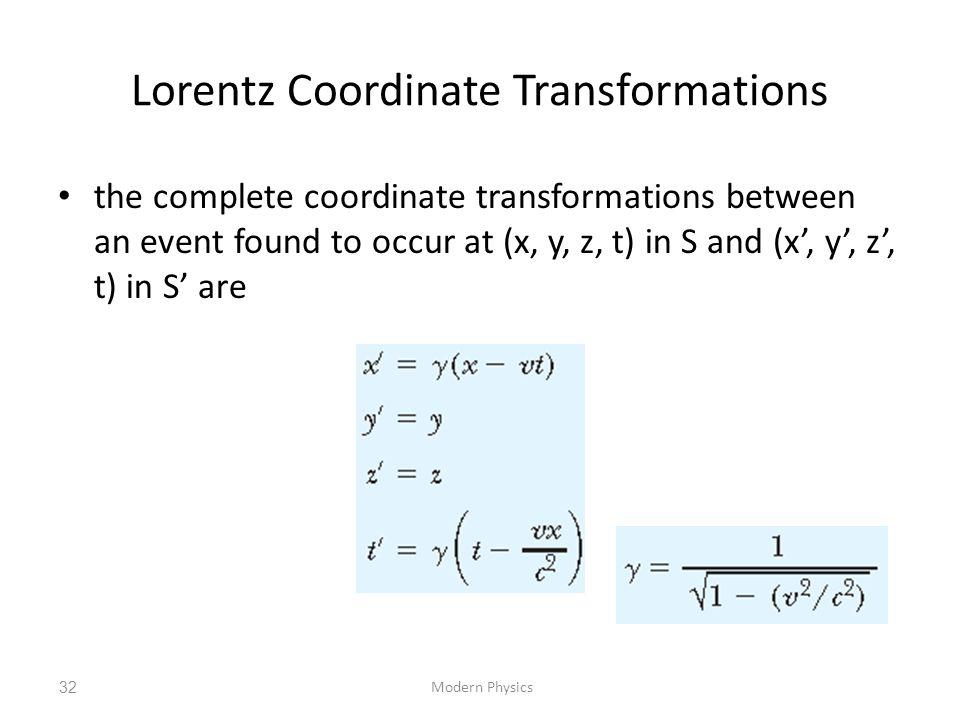 Lorentz Coordinate Transformations the complete coordinate transformations between an event found to occur at (x, y, z, t) in S and (x', y', z', t) in