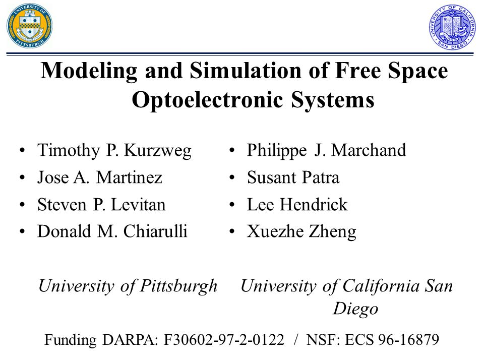 Modeling and Simulation of Free Space Optoelectronic Systems Timothy P.