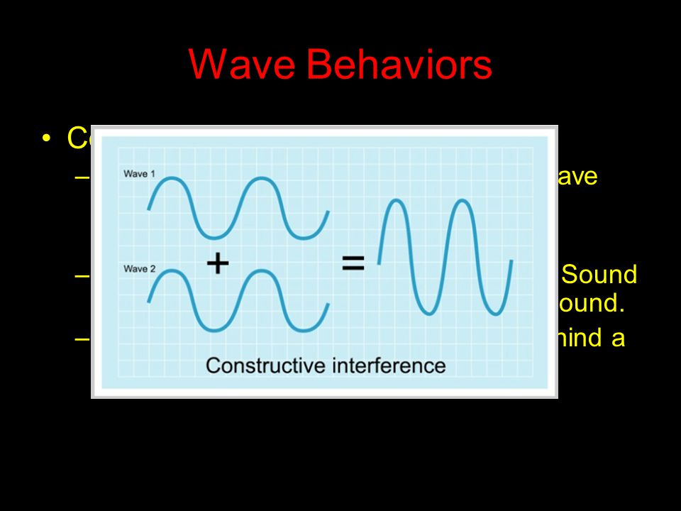 Wave Behaviors Constructive Interference –When waves meet and the result is a wave with a higher amplitude –It is the reason surround sound works. Sou