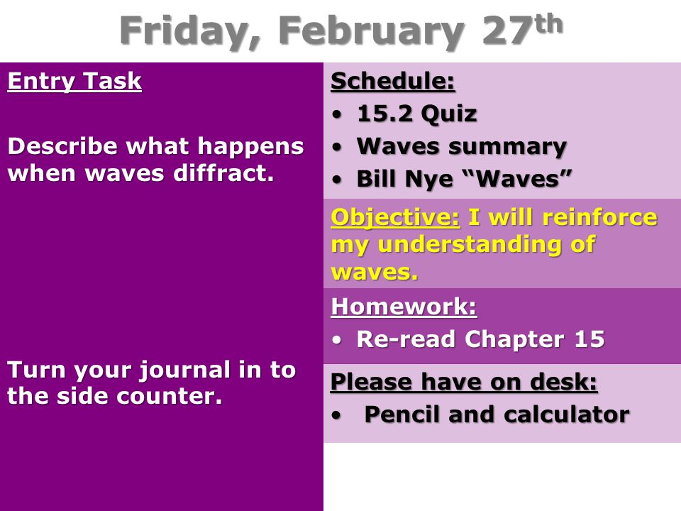 Friday, February 27 th Entry Task Describe what happens when waves diffract. Turn your journal in to the side counter. Please have on desk: Pencil and