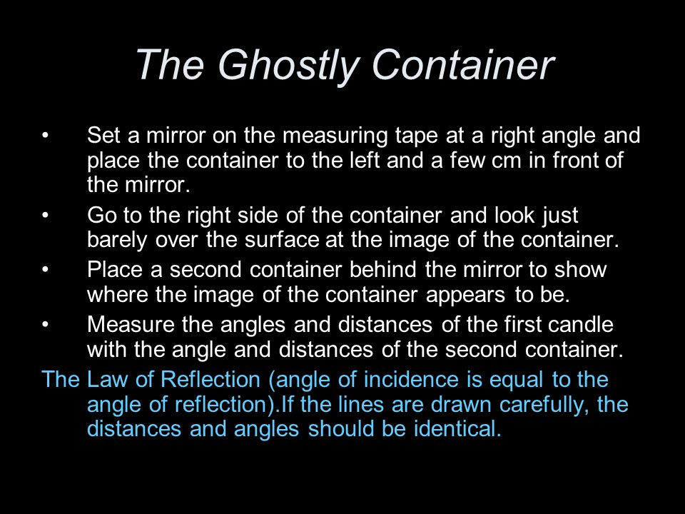 The Ghostly Container and the Law of Reflection