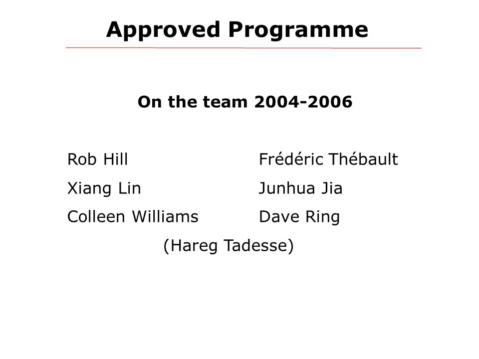 Approved Programme On the team 2004-2006 Rob HillFrédéric Thébault Xiang LinJunhua Jia Colleen WilliamsDave Ring (Hareg Tadesse)