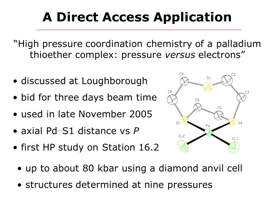 """A Direct Access Application """"High pressure coordination chemistry of a palladium thioether complex: pressure versus electrons"""" discussed at Loughborou"""