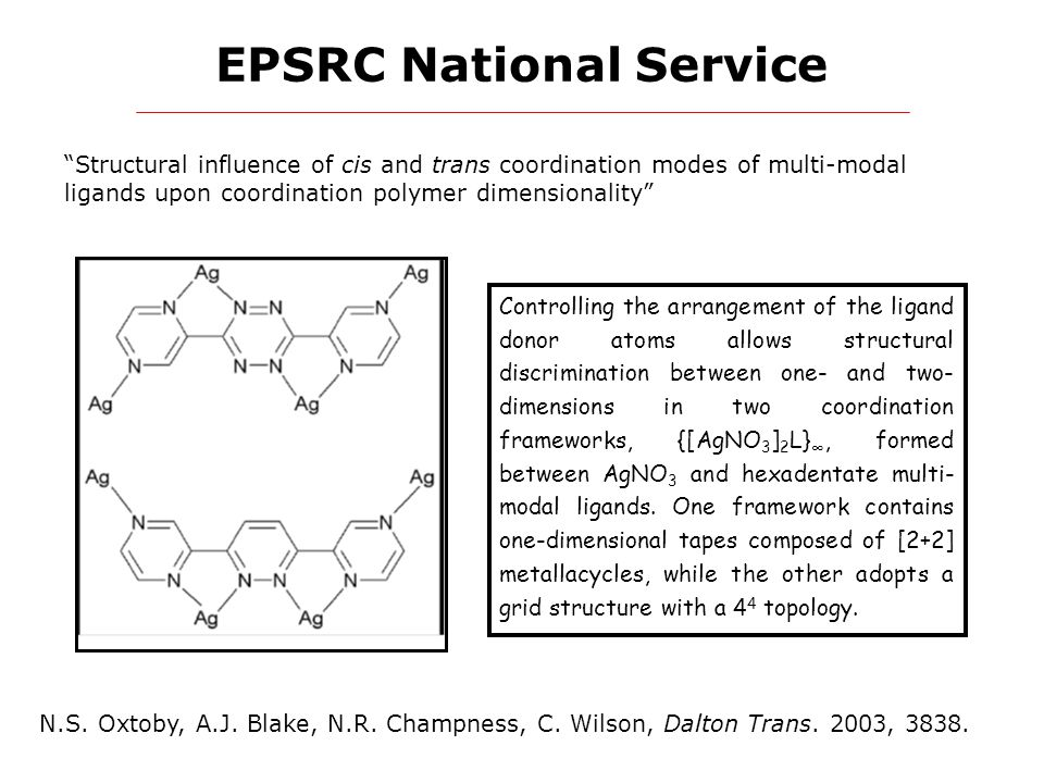 """EPSRC National Service """"Structural influence of cis and trans coordination modes of multi-modal ligands upon coordination polymer dimensionality"""" N.S."""