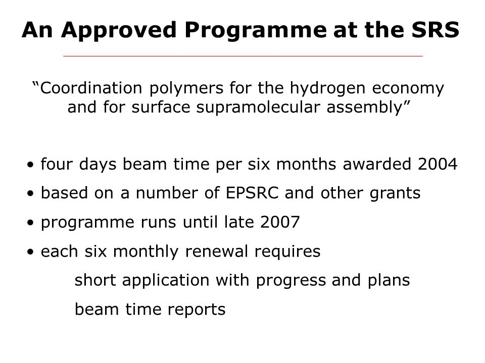 """An Approved Programme at the SRS """"Coordination polymers for the hydrogen economy and for surface supramolecular assembly"""" four days beam time per six"""