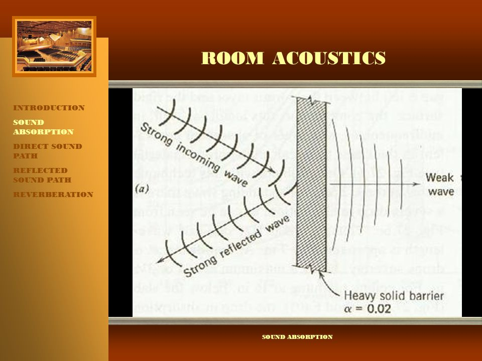 ROOM ACOUSTICS INTRODUCTION SOUND ABSORPTION DIRECT SOUND PATH REFLECTED SOUND PATH REVERBERATION ABSORPTION COEFFICIENT ABSORPTION COEFFICIENT:  DESCRIBES THE FRACTION OF THE INCIDENT SOUND ENERGY THAT A MATERIAL ABSORBS.