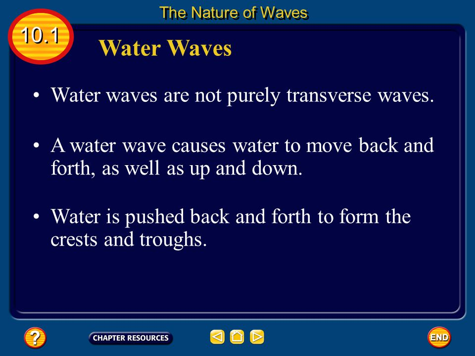 Sound in Other Materials Sound waves also can travel through other mediums, such as water and wood. 10.1 The Nature of Waves When a sound wave reaches