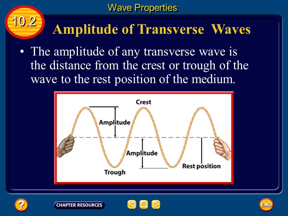 Amplitude of Compressional Waves 10.2 Wave Properties So the less dense the medium is at the rarefactions, the more energy the wave carries.