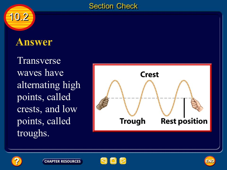 10.2 Section Check Question 1 If a wave has a high point and a low point, is it a compressional or transverse wave?