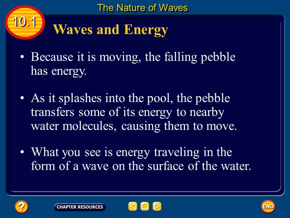 Waves and Energy A pebble falls into a pool of water and ripples form. 10.1 The Nature of Waves Click image to view movie