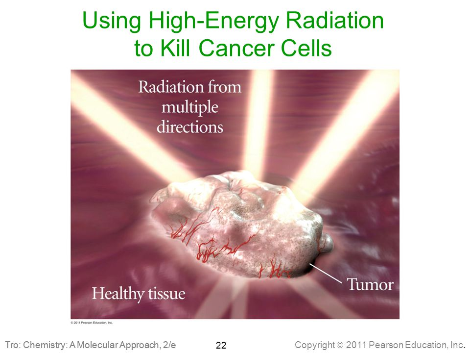 Copyright  2011 Pearson Education, Inc. Tro: Chemistry: A Molecular Approach, 2/e Using High-Energy Radiation to Kill Cancer Cells 22 Tro: Chemistry: