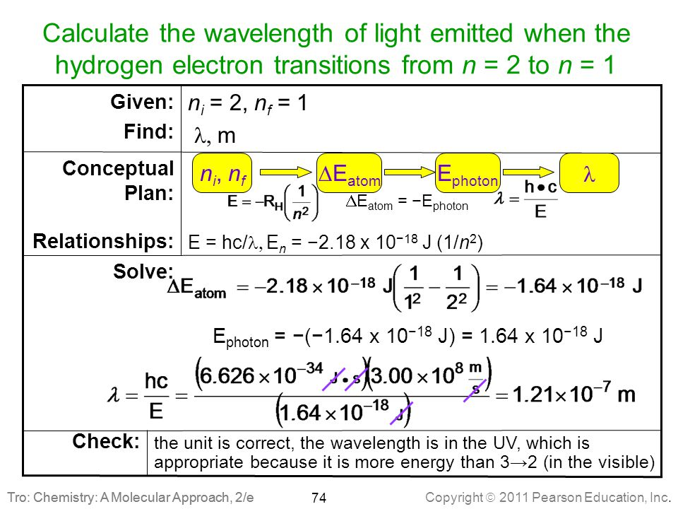 Copyright  2011 Pearson Education, Inc. Tro: Chemistry: A Molecular Approach, 2/e Solve: Calculate the wavelength of light emitted when the hydrogen