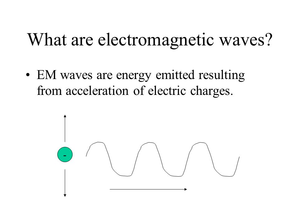 What are electromagnetic waves? EM waves are energy emitted resulting from acceleration of electric charges. -