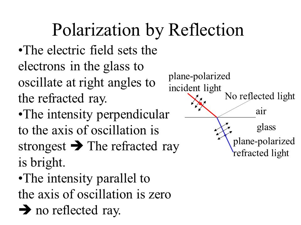 Polarization by Reflection plane-polarized incident light plane-polarized refracted light No reflected light air glass The electric field sets the ele