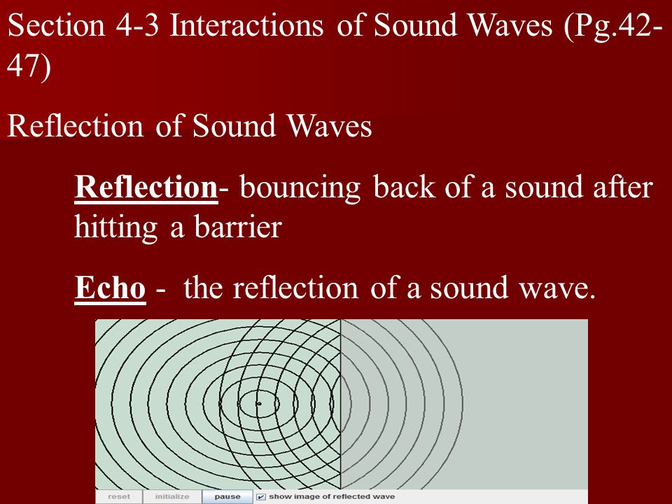 Section 4-3 Interactions of Sound Waves (Pg.42- 47) Reflection of Sound Waves Reflection- bouncing back of a sound after hitting a barrier Echo - the reflection of a sound wave.