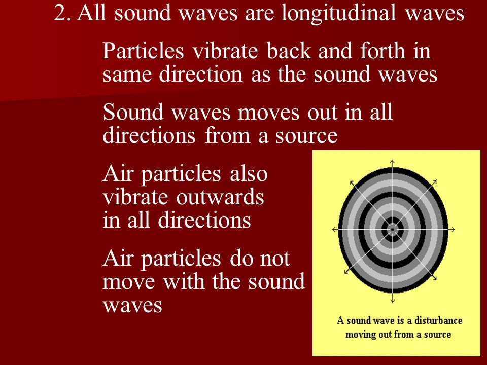2. All sound waves are longitudinal waves Particles vibrate back and forth in same direction as the sound waves Sound waves moves out in all direction