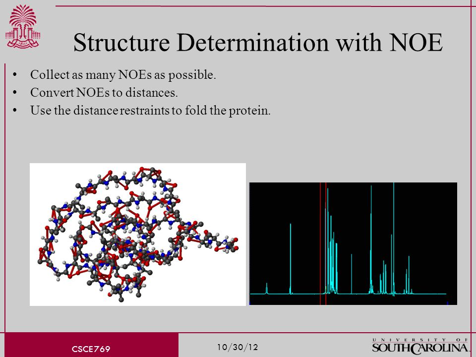 10/30/12 CSCE 769 Structure Determination with NOE Collect as many NOEs as possible.
