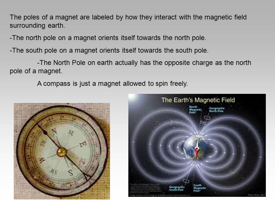 The poles of a magnet are labeled by how they interact with the magnetic field surrounding earth. -The north pole on a magnet orients itself towards t