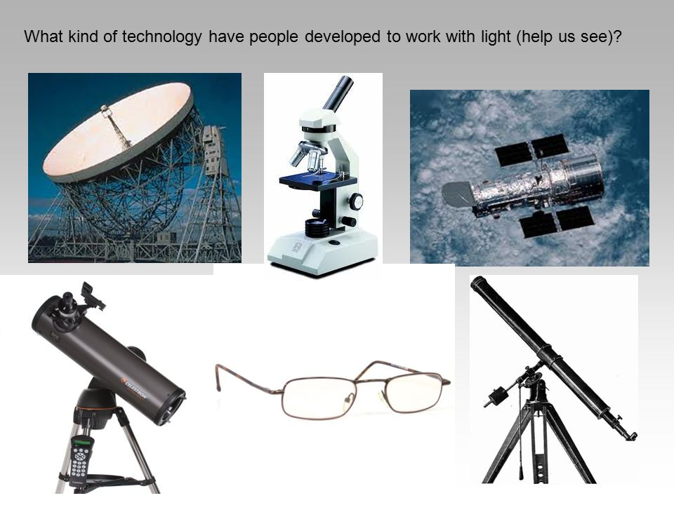 What kind of technology have people developed to work with light (help us see)?