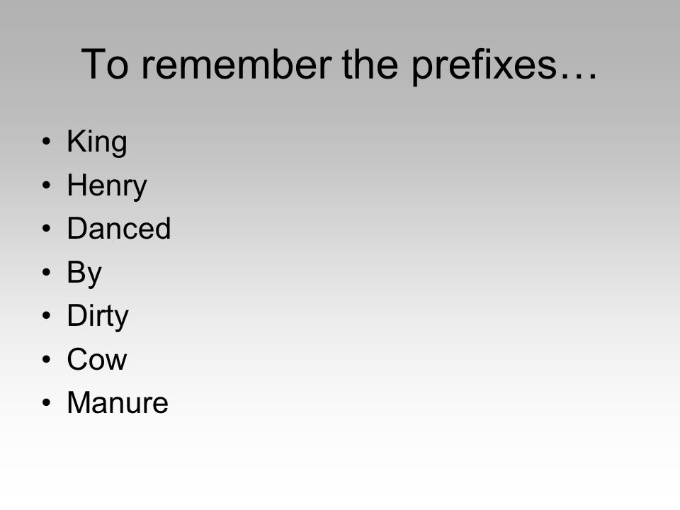 To remember the prefixes… King Henry Danced By Dirty Cow Manure