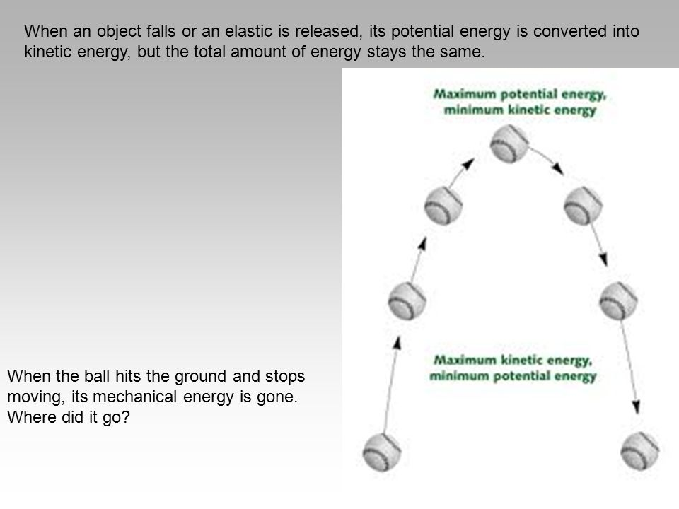 When an object falls or an elastic is released, its potential energy is converted into kinetic energy, but the total amount of energy stays the same.