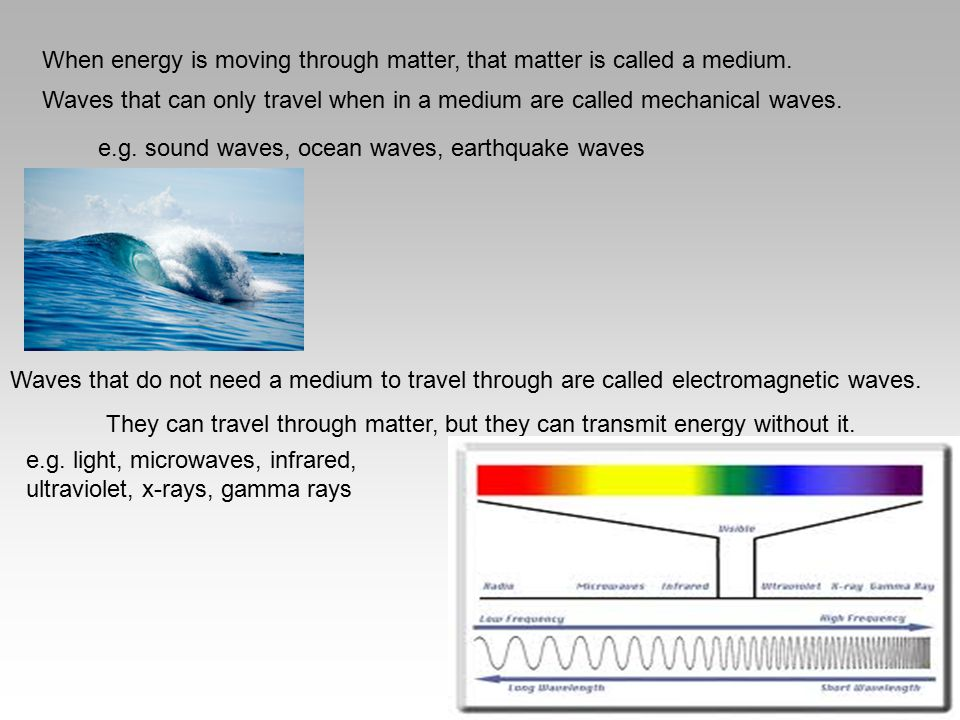 When energy is moving through matter, that matter is called a medium. Waves that can only travel when in a medium are called mechanical waves. e.g. so
