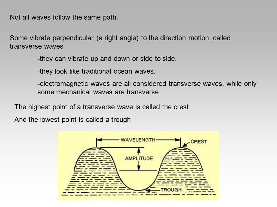 Not all waves follow the same path. Some vibrate perpendicular (a right angle) to the direction motion, called transverse waves -they can vibrate up a