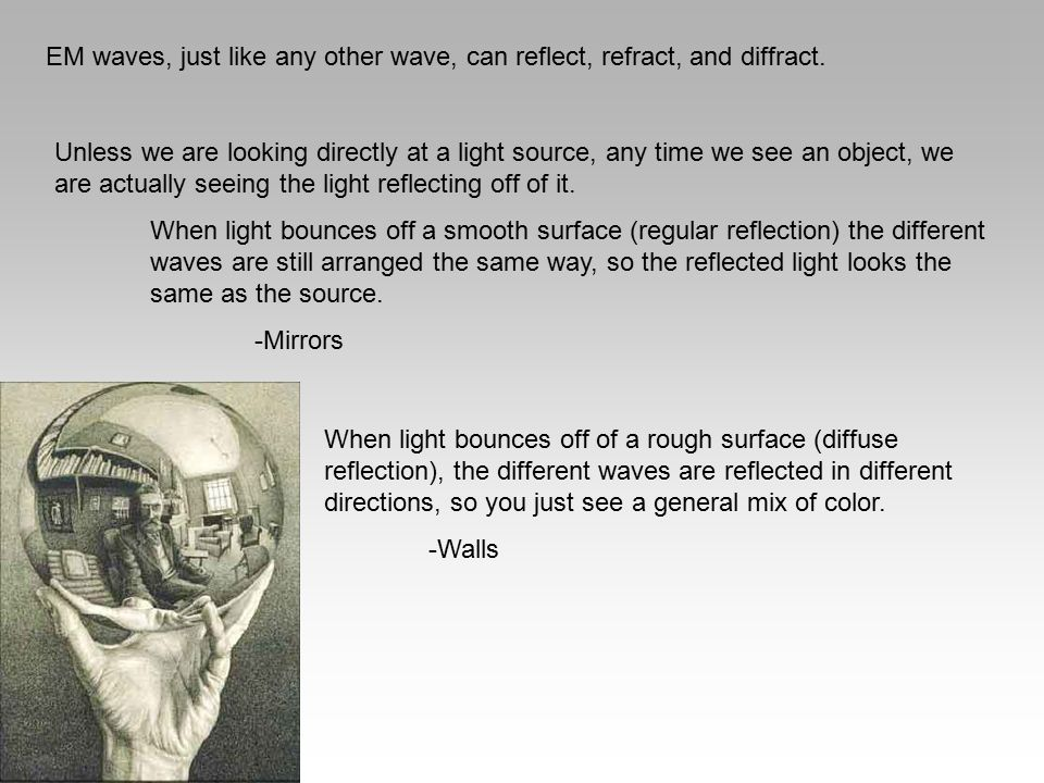 EM waves, just like any other wave, can reflect, refract, and diffract. Unless we are looking directly at a light source, any time we see an object, w