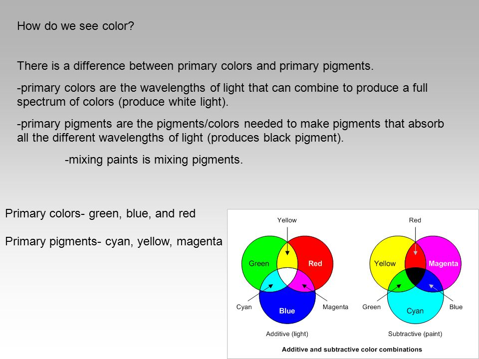 How do we see color? There is a difference between primary colors and primary pigments. -primary colors are the wavelengths of light that can combine
