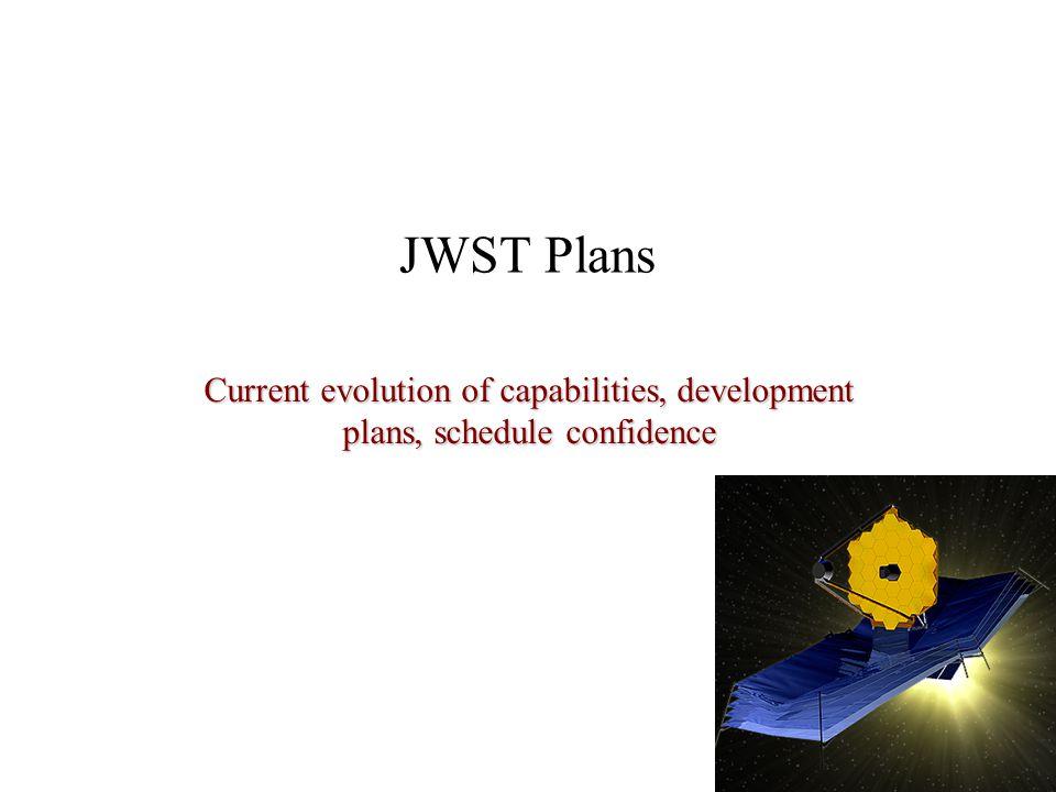 JWST Plans Current evolution of capabilities, development plans, schedule confidence