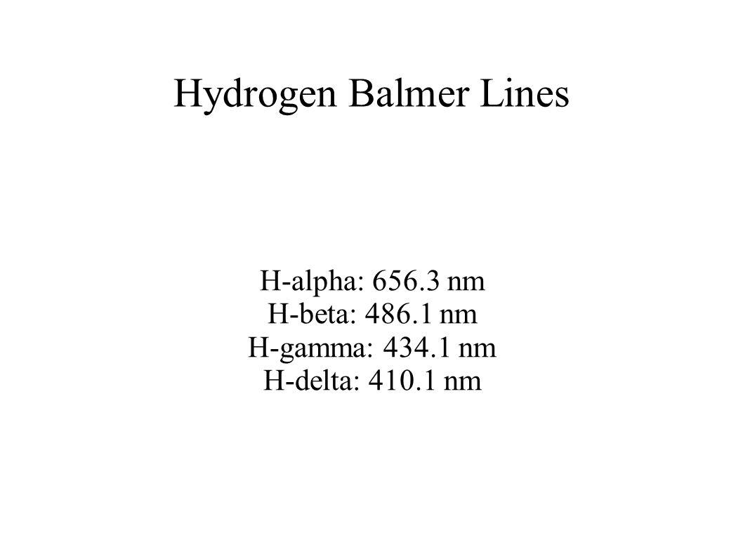 Hydrogen Balmer Lines H-alpha: 656.3 nm H-beta: 486.1 nm H-gamma: 434.1 nm H-delta: 410.1 nm