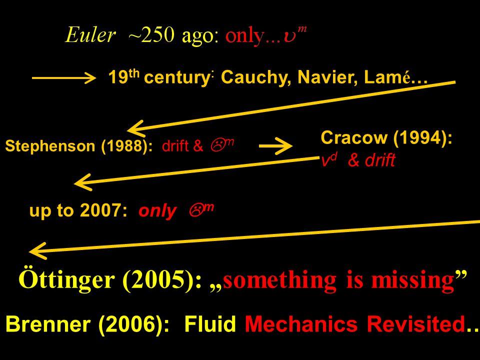 "Öttinger (2005): ""something is missing 19 th century : Cauchy, Navier, Lam é … Stephenson (1988): drift &  m up to 2007: only  m Brenner (2006): Fluid Mechanics Revisited… Cracow (1994): v d & drift"