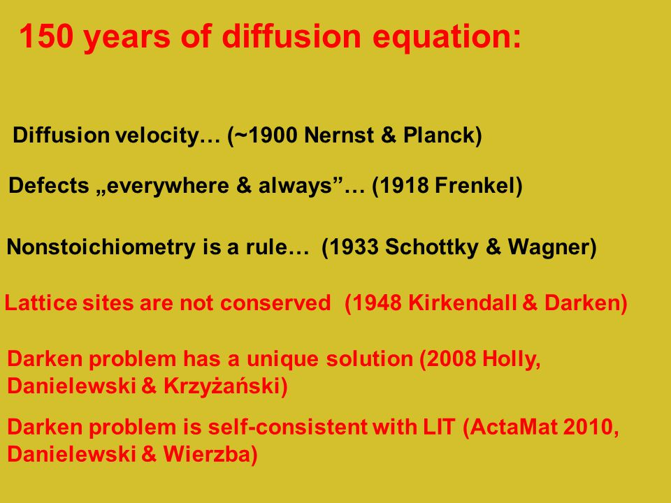 "150 years of diffusion equation: Defects ""everywhere & always … (1918 Frenkel) Nonstoichiometry is a rule… (1933 Schottky & Wagner) Lattice sites are not conserved (1948 Kirkendall & Darken) Diffusion velocity… (~1900 Nernst & Planck) Darken problem has a unique solution (2008 Holly, Danielewski & Krzyżański) Darken problem is self-consistent with LIT (ActaMat 2010, Danielewski & Wierzba)"
