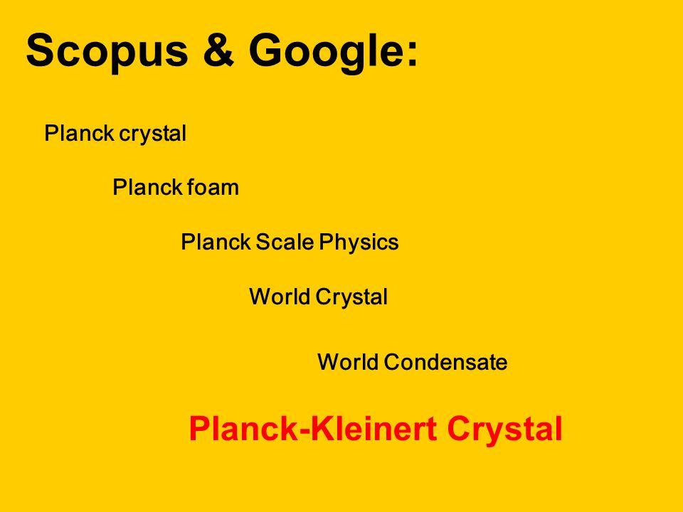 Planck crystal Planck foam Planck Scale Physics World Crystal World Condensate Scopus & Google: Planck-Kleinert Crystal