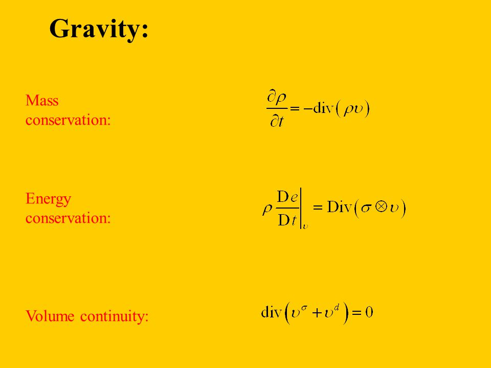 Mass conservation: Energy conservation: Volume continuity: Gravity: