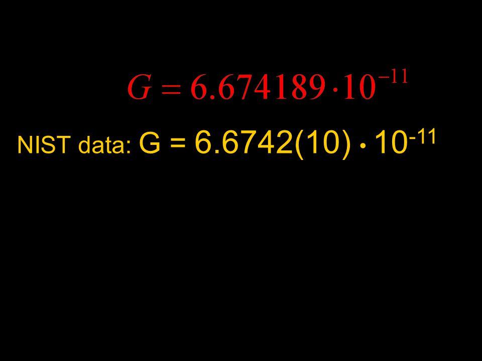 NIST data: G = 6.6742(10) 10 -11