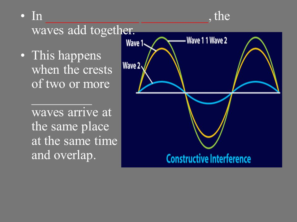 When two or more waves overlap and combine to form a new wave, the process is called __________. Interference occurs while two waves are overlapping.