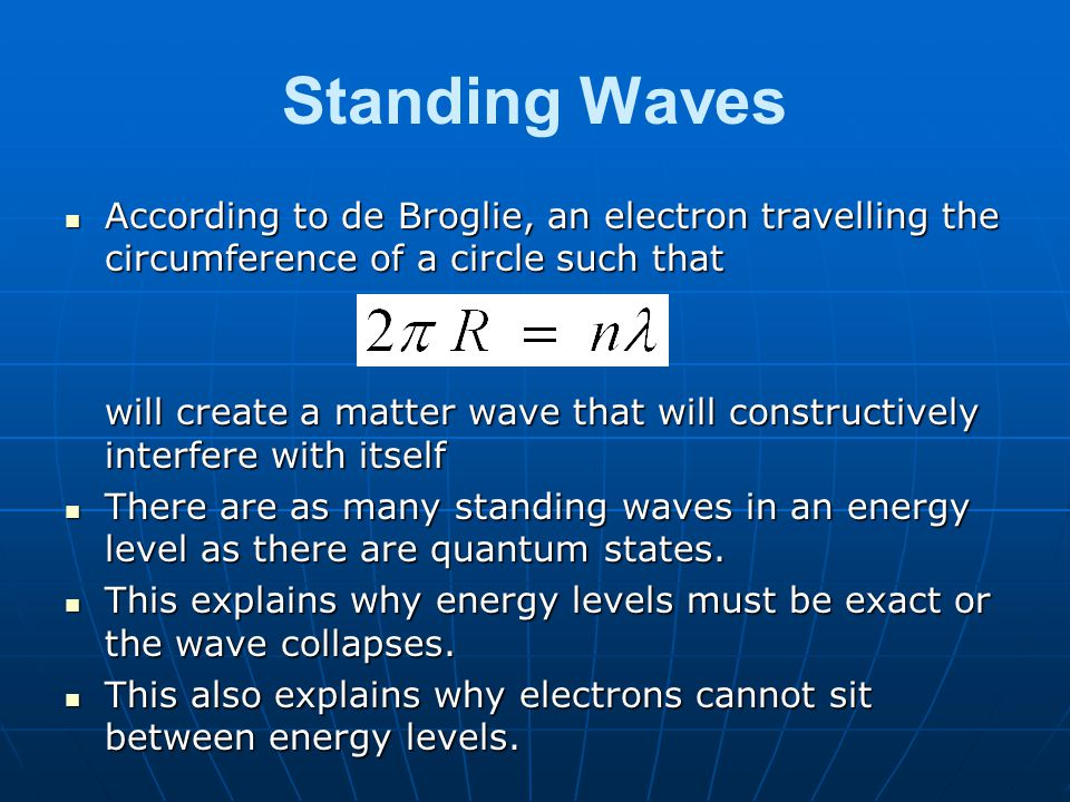 Standing Waves According to de Broglie, an electron travelling the circumference of a circle such that According to de Broglie, an electron travelling the circumference of a circle such that will create a matter wave that will constructively interfere with itself There are as many standing waves in an energy level as there are quantum states.