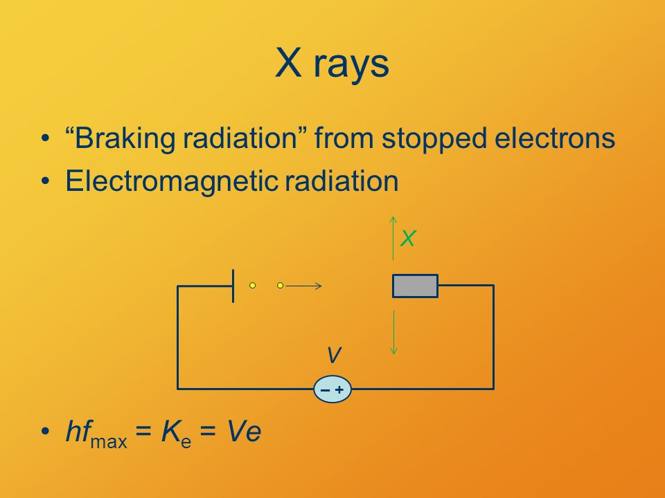 X rays Braking radiation from stopped electrons Electromagnetic radiation hf max = K e = Ve – + V X