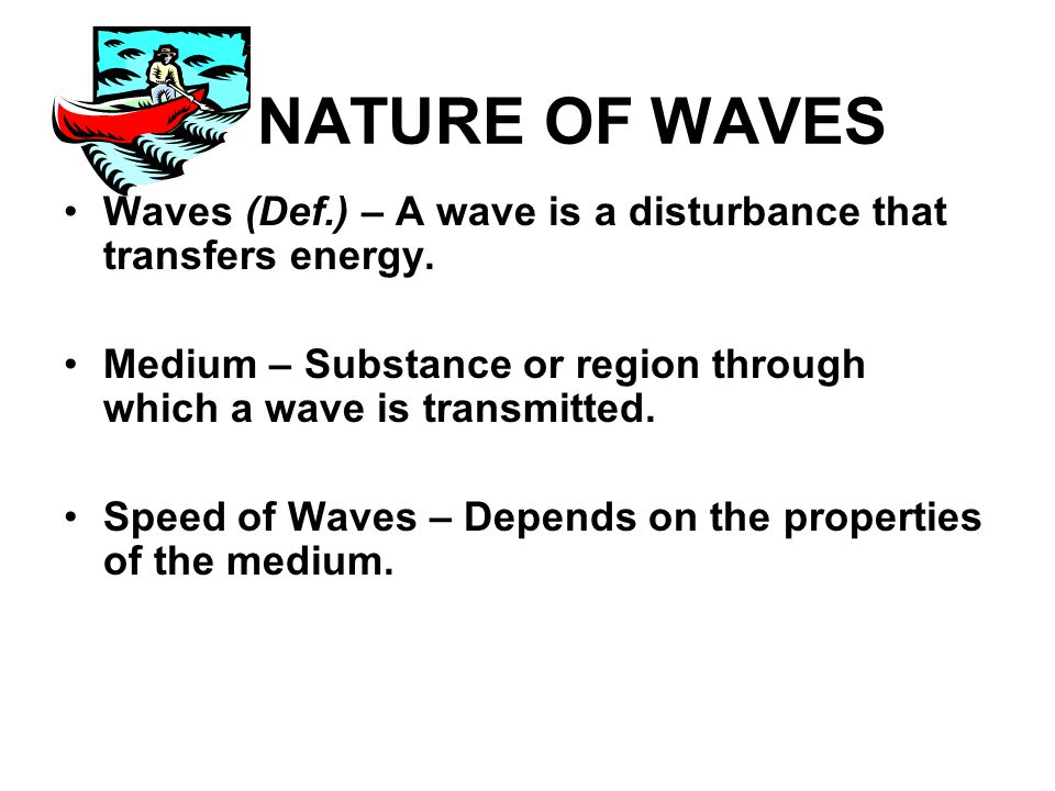 NATURE OF WAVES Waves (Def.) – A wave is a disturbance that transfers energy.