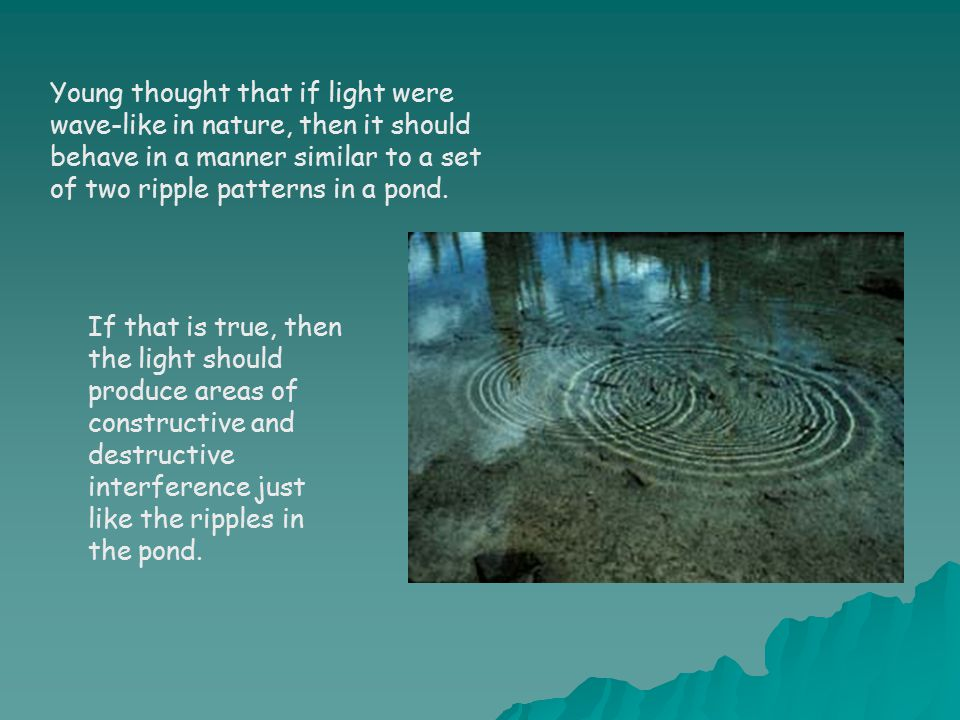 Young thought that if light were wave-like in nature, then it should behave in a manner similar to a set of two ripple patterns in a pond.