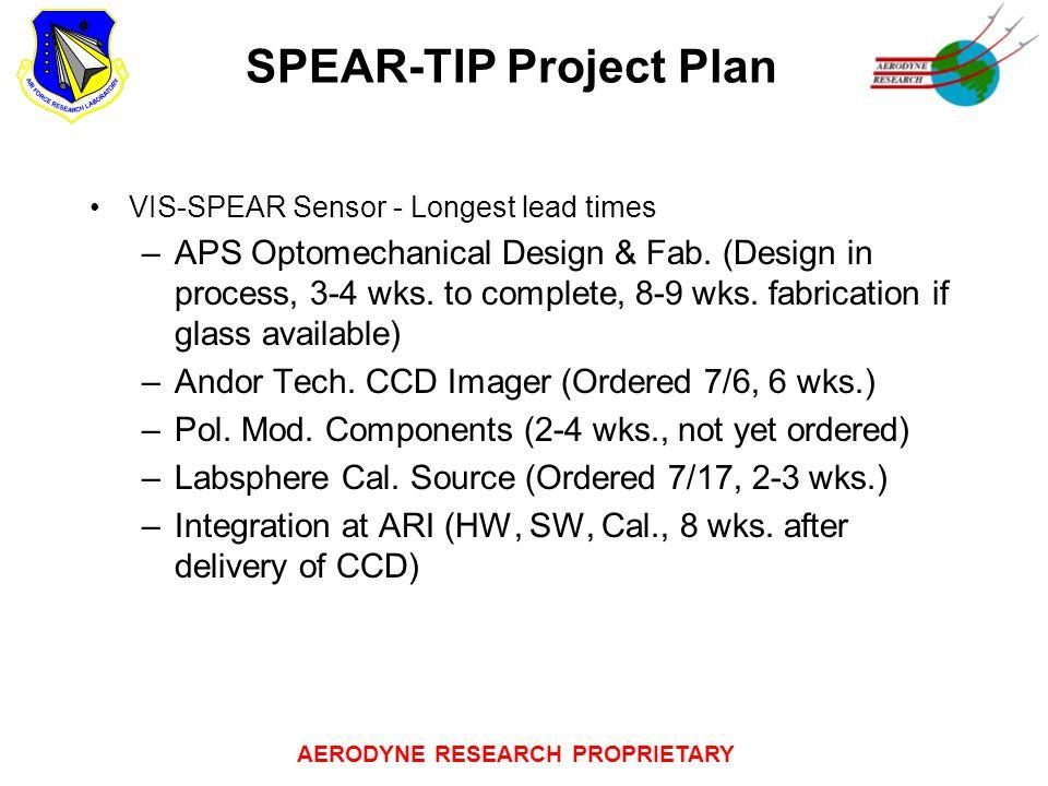 AERODYNE RESEARCH PROPRIETARY SPEAR-TIP Project Plan VIS-SPEAR Sensor - Longest lead times –APS Optomechanical Design & Fab. (Design in process, 3-4 w