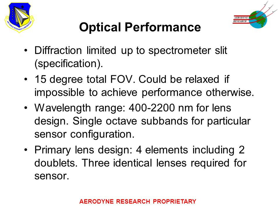 AERODYNE RESEARCH PROPRIETARY Optical Performance Diffraction limited up to spectrometer slit (specification).